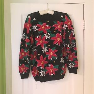 unique poinsettia ugly christmas sweater - Unique Christmas Sweaters